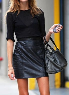 All Black...Fitted sweater & leather skirt