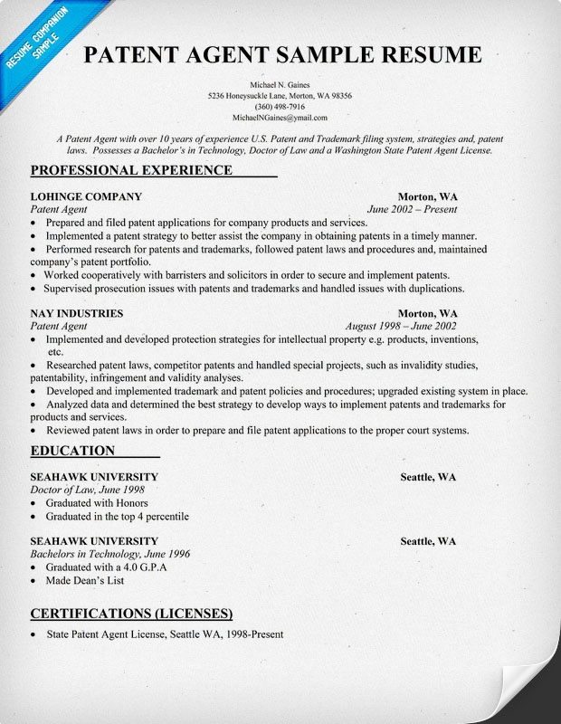 Patent Agent Resume Sample Resumecompanion Com Resume