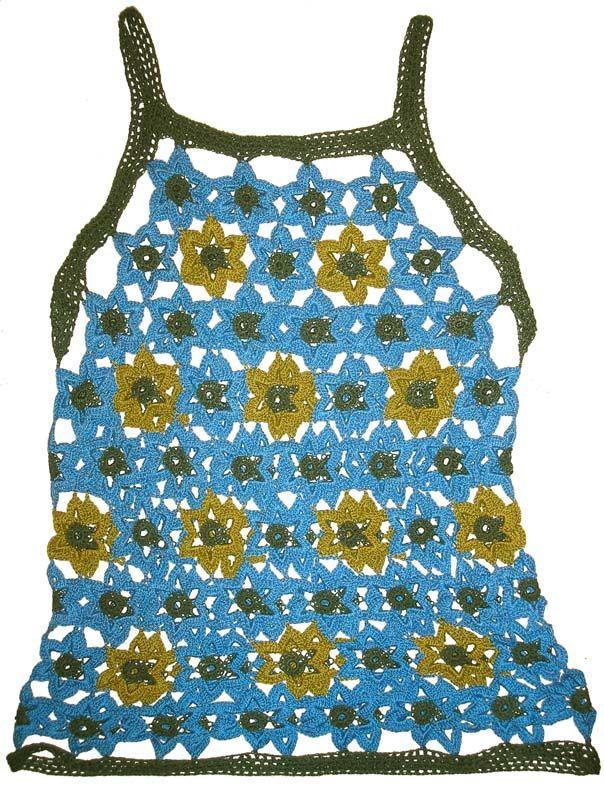 Blusa tejida a crochet en hilos Cisne Pescadora de colores azul, verde oscuro y verde claro, Talla M