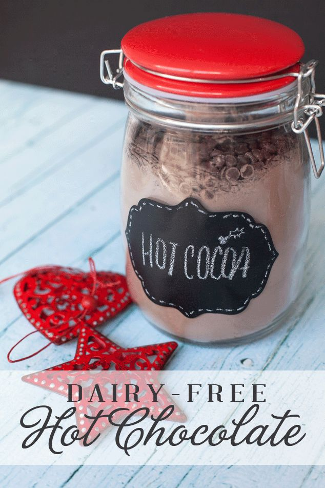 A thoughtful hot chocolate holiday gift basket how-to with a recipe for non-dairy hot chocolate mix using Silk Milk.