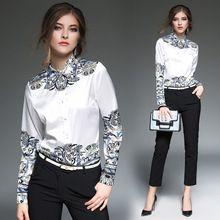 Moda Feminina Blusas de Impressão Primavera Outono de Manga Comprida de Seda Plus Size Camisa Das Senhoras Blusa Roupas Mulheres Tops Camisas(China (Mainland))