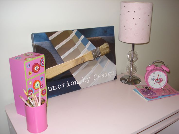 "This was a fun kid's desk that I painted in Dulux ""Precious Pink"" and sealed with varnish."