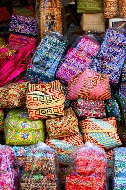 Baskets in a Bali market