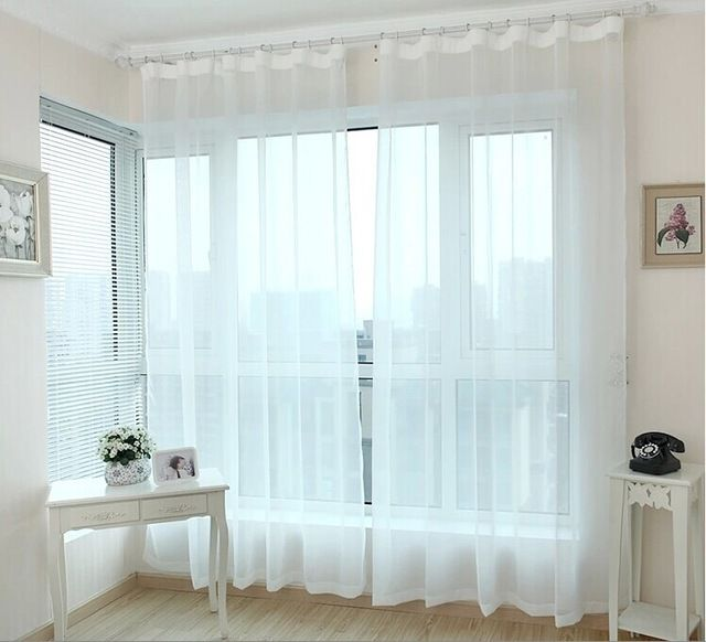 Готовые окна прозрачные вуали шторы панель тюль занавески для гостиной оформление белые занавески