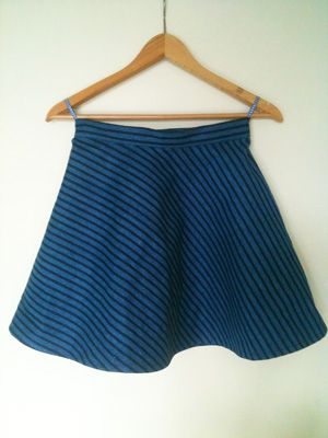 Blue striped skater skirt; free sewing patterns from allaboutyou.com