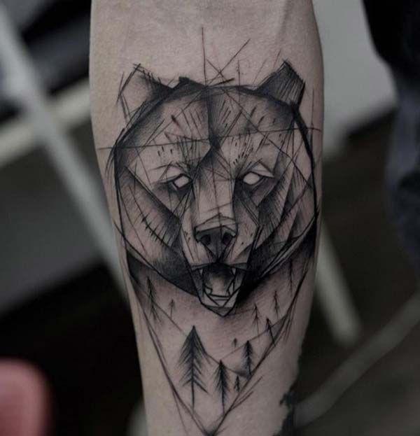 geometrik ayı dövmesi