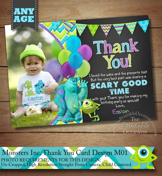 Monster Inc Thank You Card, Monster Inc Photo Thank You Card, Monster Birthday Party Thank You Card, Thank You Card, Monsters Inc Photo Thank You Card for Monsters Inc Birthday Party