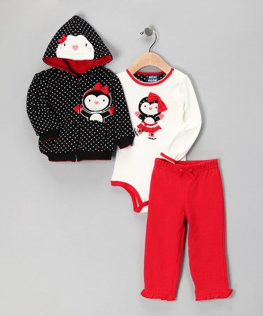 Take a look at this Black Polka Dot Penguin Zip-Up Hoodie Set by Colorful Cuties: Kids' Apparel on #zulily today!