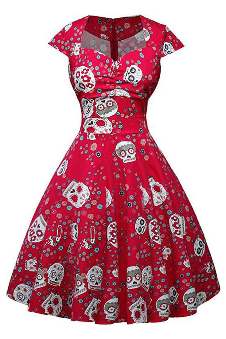 Craving for some skulls and rockabilly? Well, we've got our Atomic Red Candy Skull Ruffled Swing Dress just for you!   https://atomicjaneclothing.com/products/atomic-red-candy-skull-ruffled-swing-dress