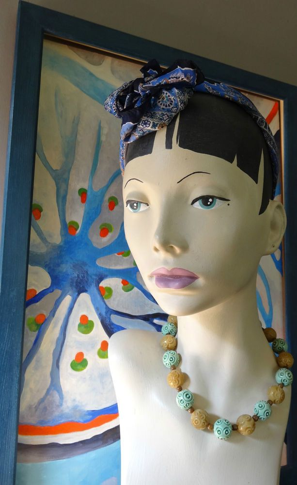mannequin head bust shop jewellery millinery display hand painted vintage style