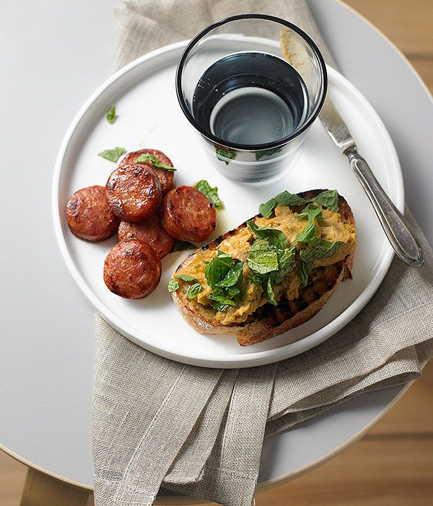 Australian Gourmet Traveller entree recipe for broad bean puree with chorizo The dried bean has a leathery brown outer skin, which requires not only long soaking but usually removal either before or after cooking. #Spanish #Masterclass #Entree #Paprika #Chorizo #Garlic #Mint #Beans #Winter