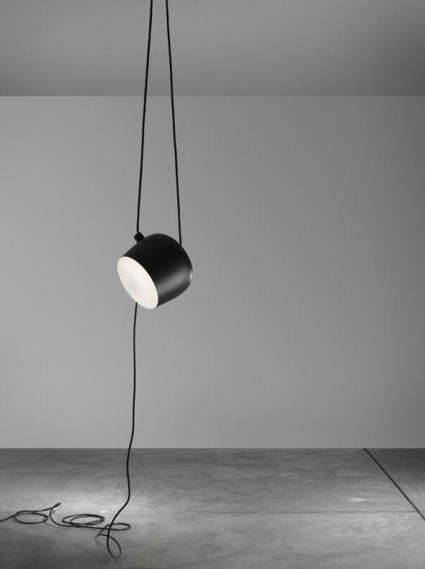 Aim Lamp ­ 2013 Adjustable pendant light collection  Body in varnished aluminium sheet, shade in photo-etched optical polycarbonate. LED light source (2700K 1250lm). Ø243 x 211 mm