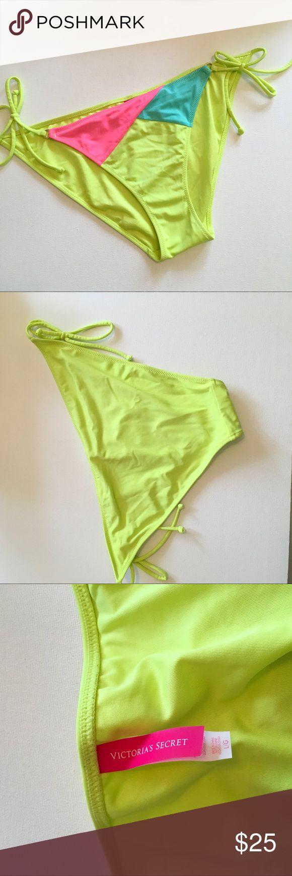 VS Neon Color Block String Bikini Bottom Good Used Condition VS Bikini bottom Victoria's Secret Swim Bikinis