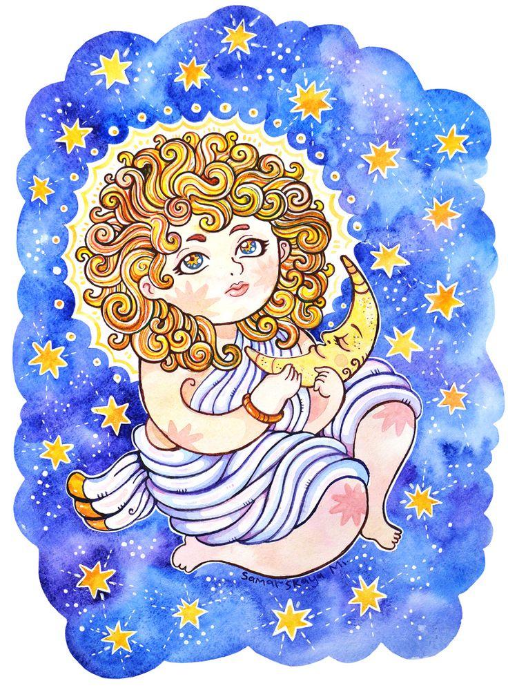 The Birth of the Sun #illustration #watercolor #illustrationartists #sun #newborn #star #moon #art Samarskaya Milana