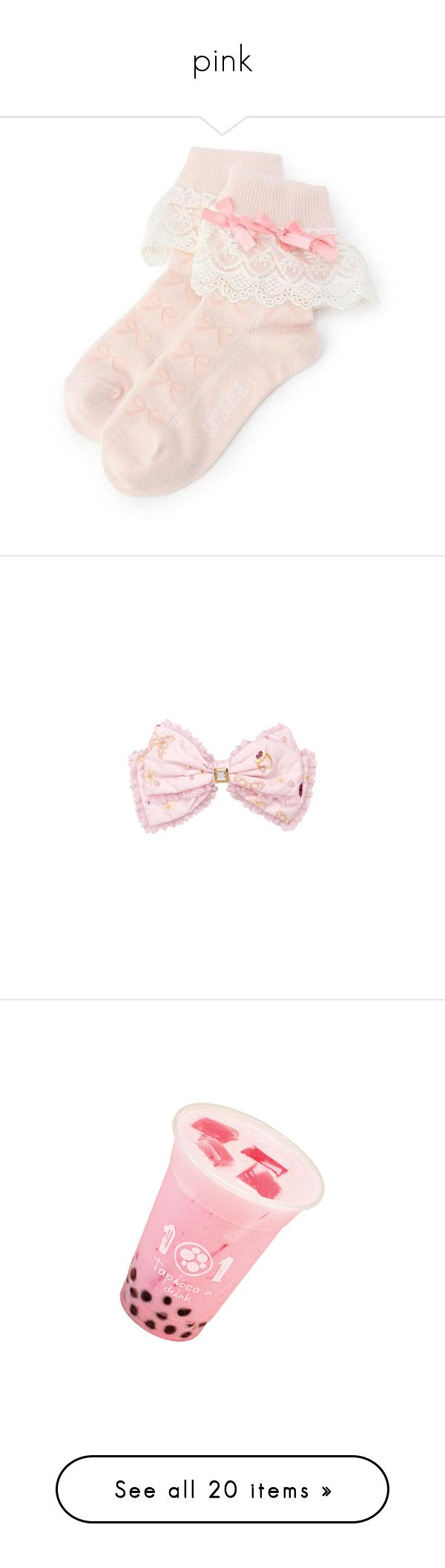 """""""pink"""" by toppingu ❤ liked on Polyvore featuring intimates, hosiery, socks, socks and tights, legwear, pink, pink socks, accessories, hair accessories and bows"""