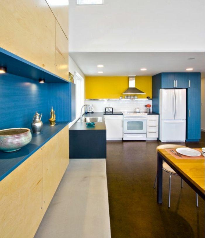 1001 Idees Creer Une Deco En Bleu Et Jaune Conviviale Cuisine Jaune Cuisine Moderne Cuisines Deco