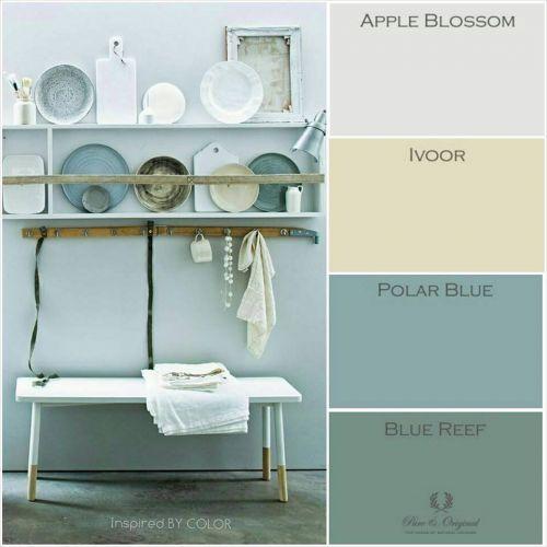 vooral polar blue-blue reef; Moodboard Pure & Original Krijtverf Kalkverf Lime Paint Chalk Paint