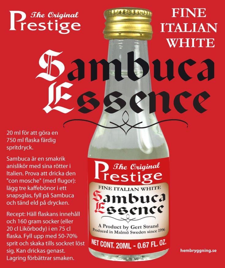 """20 ml för att göra en 750 ml flaska färdig spritdryck.   Sambuca är en smakrik anislikör med sina rötter i Italien. Prova att dricka den """"con mosche"""" (med flugor): lägg tre kaffebönor i ett snapsglas, fyll på Sambuca och tänd eld på drycken.  Recept: Häll"""