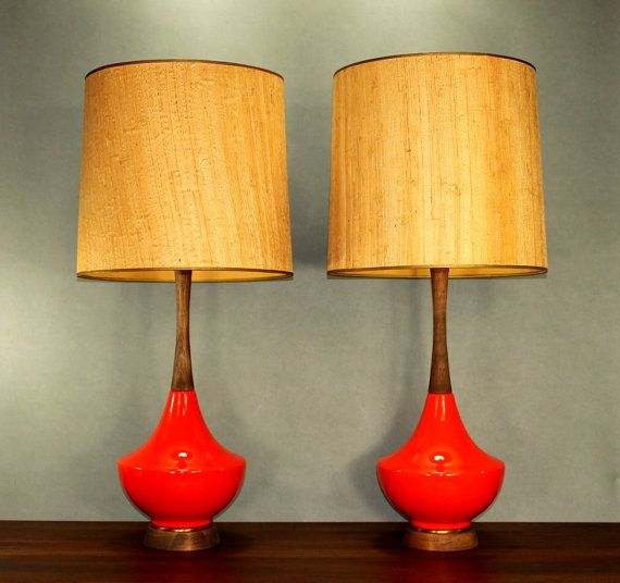 Mid Century Red Ceramic Walnut Wood Lamp Pair Modern Atomic Retro 50's 60's Danish on Etsy, $975.00