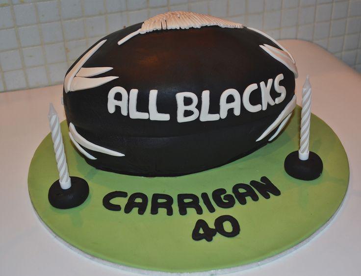 Rugby Ball - All blacks cake