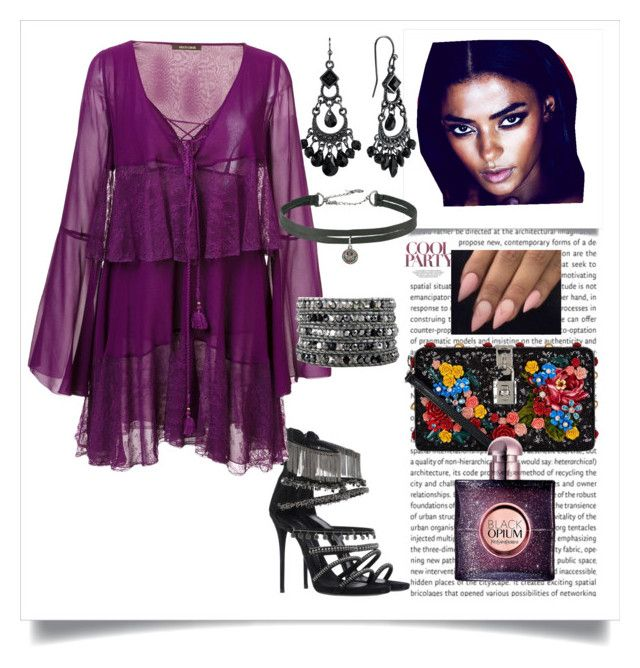 Night out. A purple dress in a boho style by martika-1976 on Polyvore featuring moda, Roberto Cavalli, Giuseppe Zanotti, Dolce&Gabbana, 1928, Betsey Johnson and Yves Saint Laurent