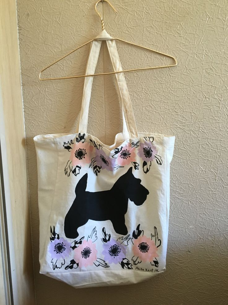 A tote bag with anemones and a scottie dog I sewed and decorated for a friend for Christmas