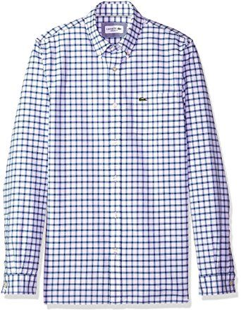 55f7dc278 Lacoste Men s Long Sleeve Oxford Tiled Button Down Collar Reg Fit Woven  Shirt