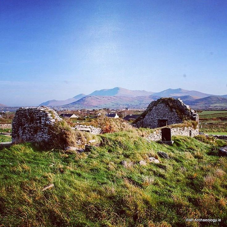 The ruins of a medieval church at Ballywiheen, Dingle, Co Kerry. Mount Brandon, an early pilgrimage site, can be seen in the background