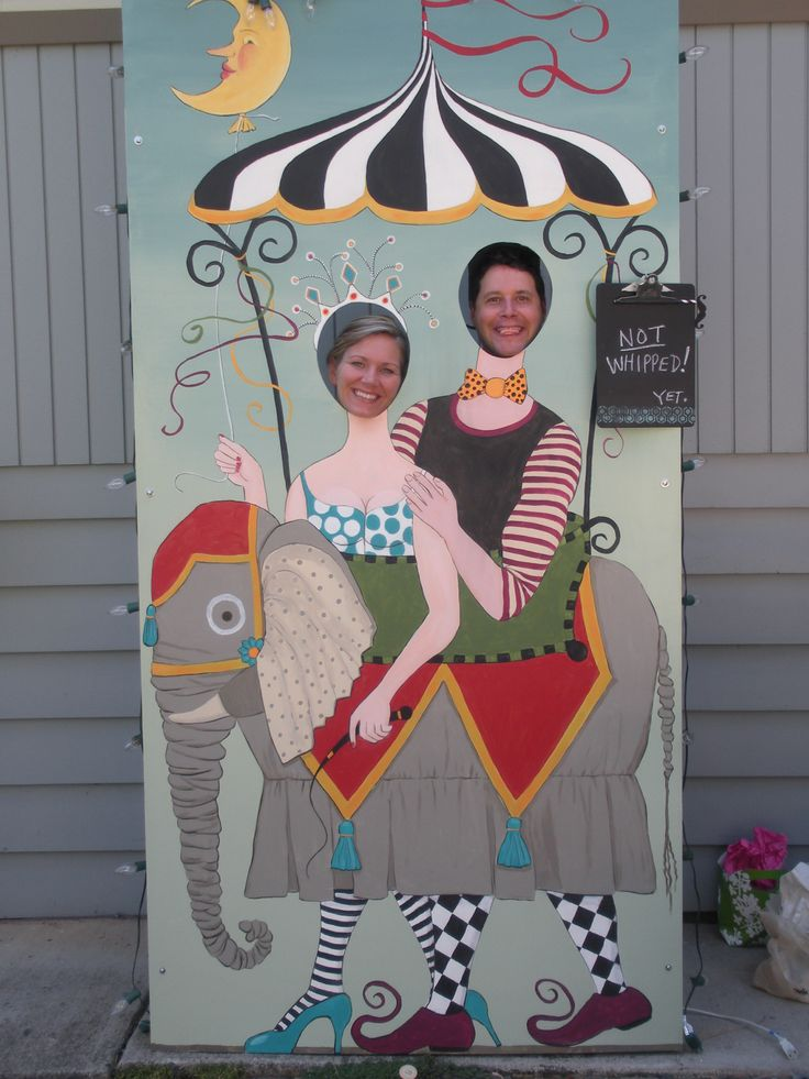 elephant ride!  circus photo prop for wedding party.  art by leona keene sewitsky.