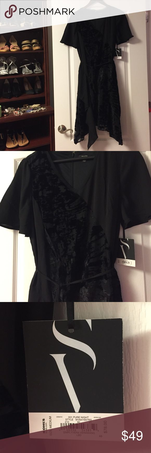 "NWT Simply Vera Vera Wang Black Dress NWT! Size Medium Black Dress. ""Simply Noir Velvet Burnout Fit & Flare Dress"" Simply Vera Vera Wang Dresses Midi"