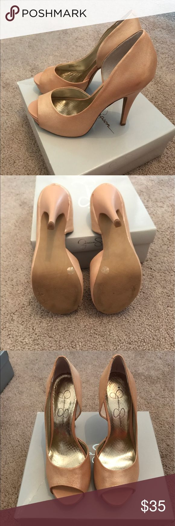 Jessica Simpson heels Like new, worn once. Powder gold. Jessica Simpson Shoes Heels