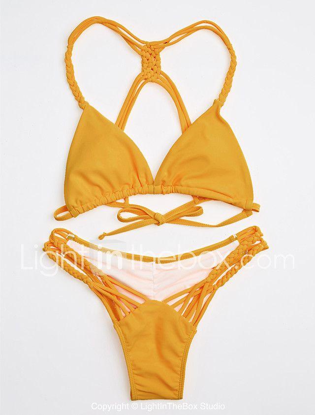 Mujer Bandeau Un Color Bikini 2018 - €9.8