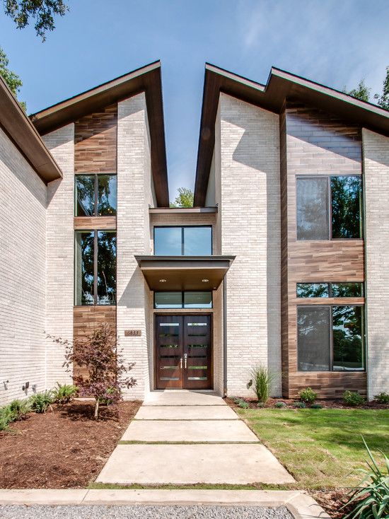 Amazing Home With Double Front Doors: Classic Modern Exterior Home With  Wooden Double Front Door