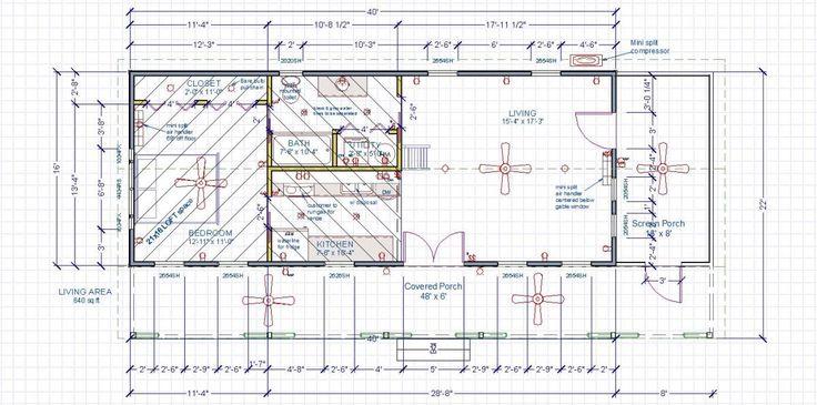 Studio cabin floor plan with screen porch joy studio for 16x40 floor plans