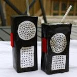 Juice Box Walkie Talkie Cute craft idea for fire or police person birthday party.  Add a colored straw.