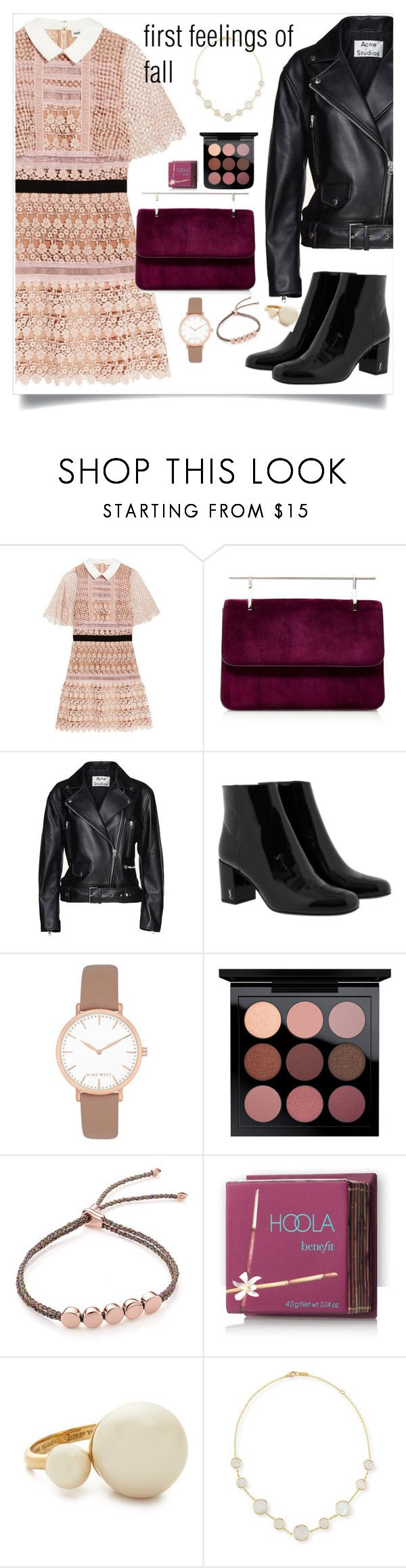 """Fall Feelings"" by maggiesinthemoon ❤ liked on Polyvore featuring self-portrait, Fleur du Mal, Acne Studios, Yves Saint Laurent, Nine West, Monica Vinader, Hoola, Kate Spade and Ippolita"