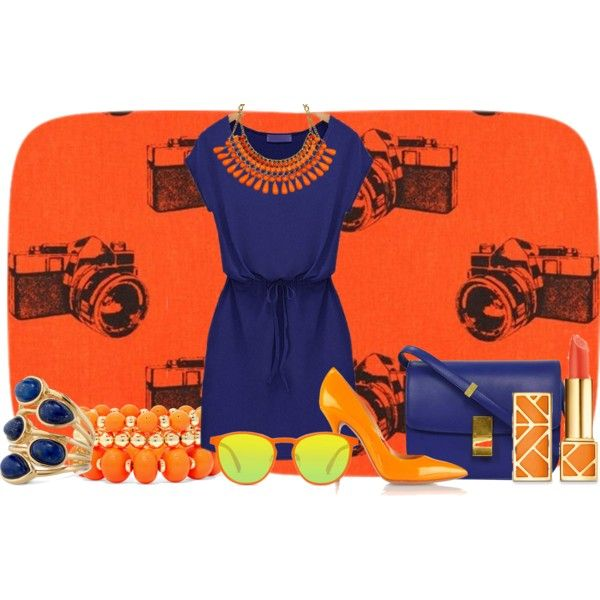orange_dream by teki-88 on Polyvore featuring Casadei, Stella & Dot, Mixit, GlassesUSA and Tory Burch