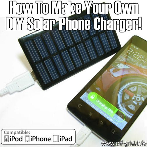 How To Make Your Own DIY Solar Phone Charger This article includes links to places to get the solar panels and other parts.