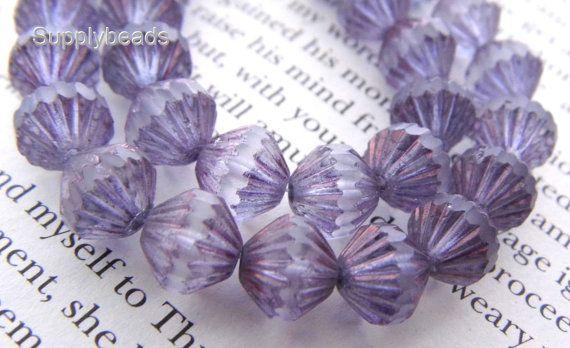 Matte Amethyst Fluted Beads Fluted Beads Czech by SupplyBeads