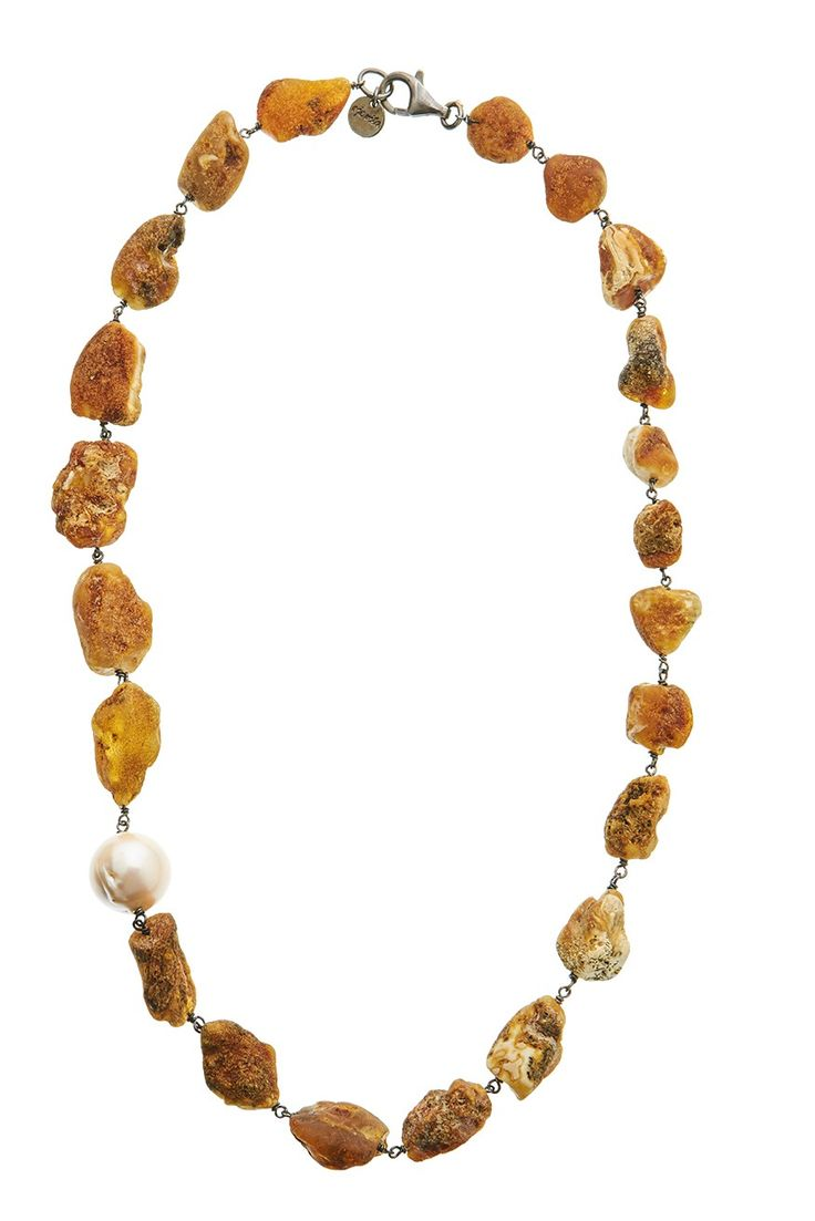 Sterling Silver 925 Amber & Pearl