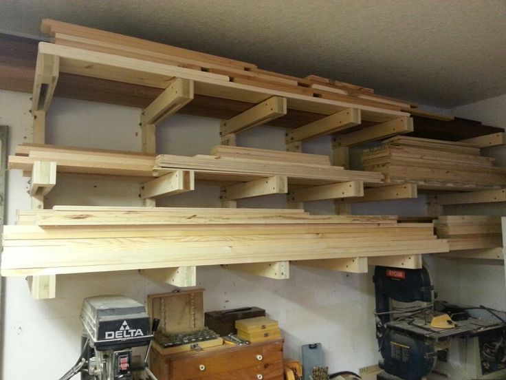 Wood Bracket Shelves Strong Enough To Store Wood In The Workshop.