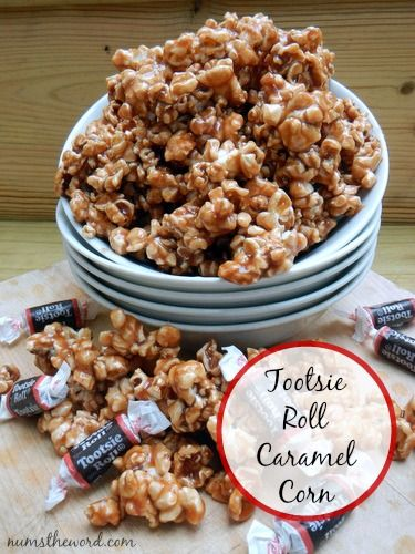 If you love caramel corn, then you have to try this Tootsie Roll version.  Easy to make and uses real Tootsie Rolls.  A great recipe for leftover halloween candy!