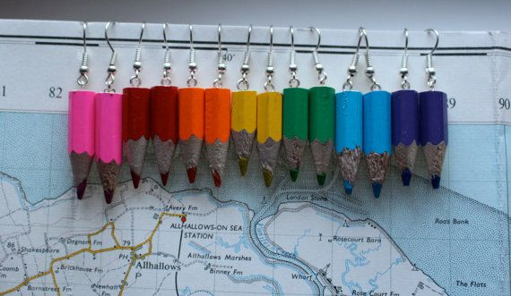 Hey, I found this really awesome Etsy listing at https://www.etsy.com/listing/120787968/coloured-pencil-dangle-earrings-upcycled