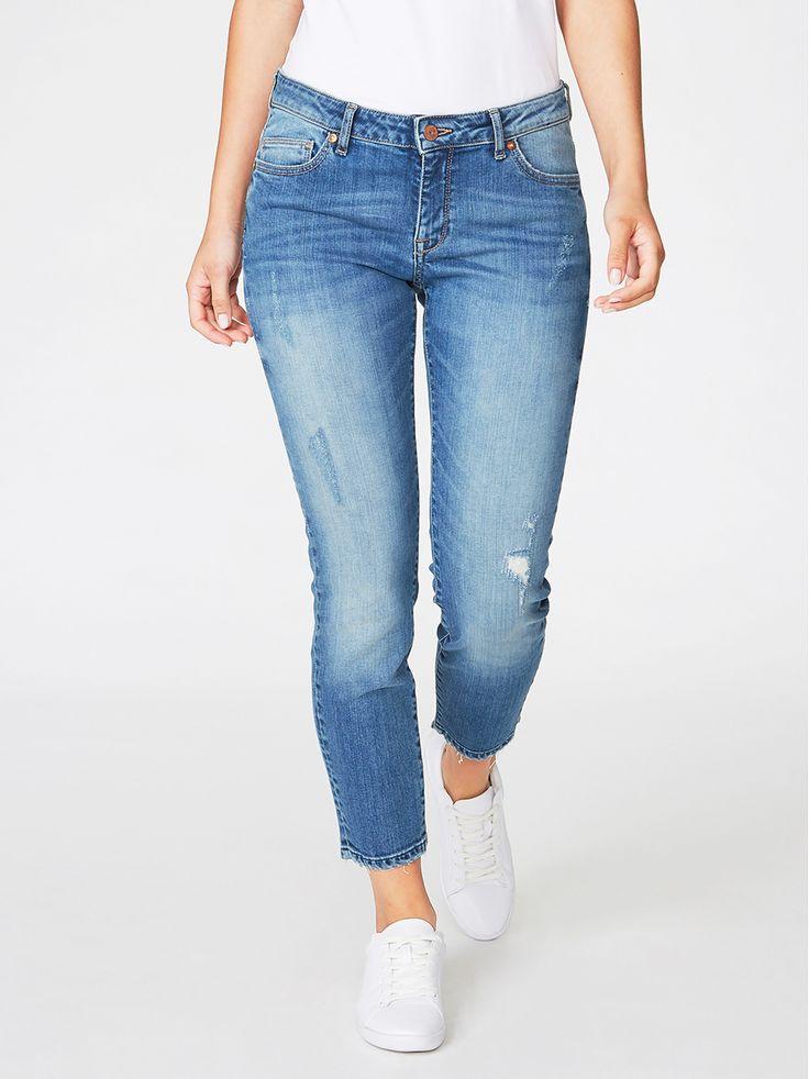 Slim cropped jeans, Blå, Jeans, Dam | Lindex