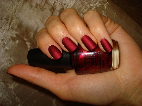 OPI - Matte Silk Red... Spectacular color for fall & winter... Going to have to speak to my spectacular nail tech about this one!