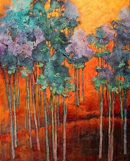 "Mixed Media Artists International: Mixed Media Landscape Aspen Tree Art Painting ""Blue Grove"" by Colorado Mixed Media Abstract Artist Carol Nelson"