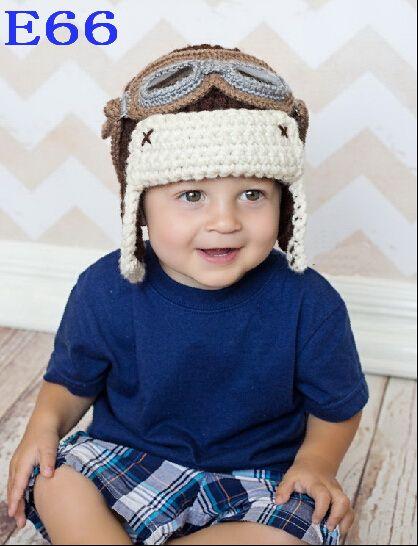 Вязание мальчиков Hat ручной крючком авиатор очки новорожденных фотография реквизит