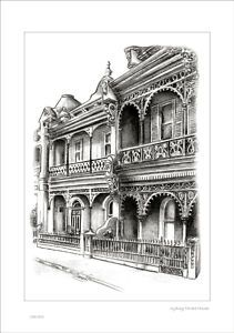 Sydney Terrace Houses Rustic Shabby Style Chic Drawing | eBay
