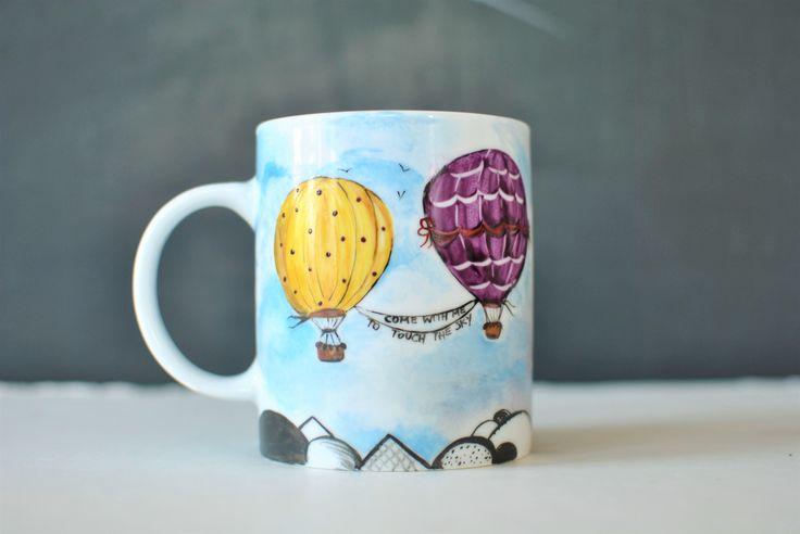 hot-air balloon mug handpainted