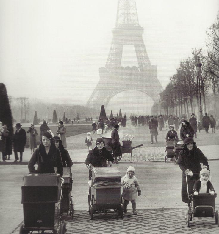France. Walking down Champ-de-Mars, Paris, 1934